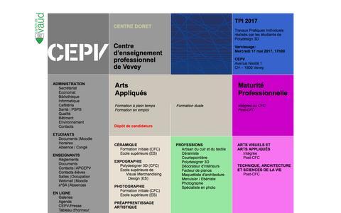 Screenshot of Home Page cepv.ch - CEPV | Centre d'enseignement professionnel de Vevey | Page d'accueil - captured May 11, 2017