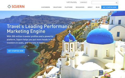 Screenshot of Home Page sojern.com - Travel's Leading Data-Driven Advertising Platform   Sojern - captured Sept. 4, 2015