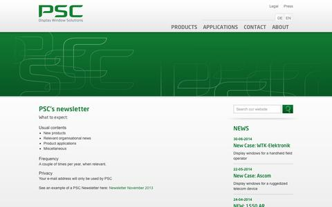 Screenshot of Signup Page psc.dk - PSC: Sign up for psc newsletter - captured Oct. 1, 2014