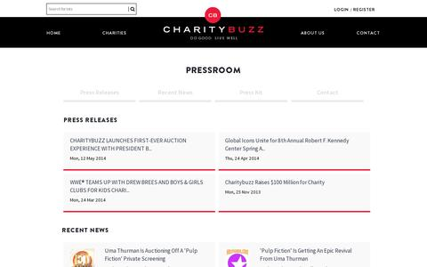 Screenshot of Press Page charitybuzz.com - Charitybuzz |  do good - live well - captured July 18, 2014