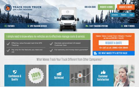 Screenshot of Home Page trackyourtruck.com - GPS Vehicle Tracking Devices, Equipment & Solutions - captured Sept. 11, 2015
