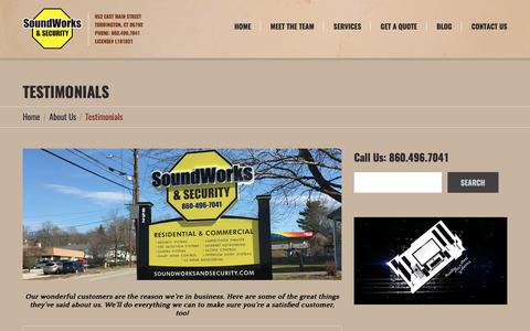 Screenshot of Testimonials Page soundworksandsecurity.com - SoundWorks & Security Torrington CT Customer Testimonials Reviews - captured Oct. 23, 2017