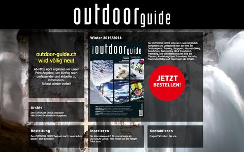 Screenshot of Home Page outdoor-guide.ch - outdoor guide - das schweizer outdoor magazin - captured March 12, 2016
