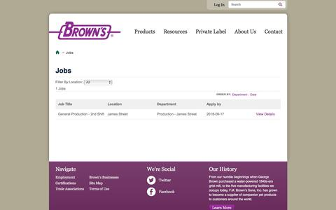 Screenshot of Jobs Page fmbrown.com - Jobs   F.M. Brown's - captured Sept. 25, 2018