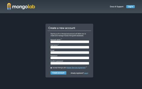 Screenshot of Signup Page mongolab.com - Create Account | MongoLab - captured Sept. 17, 2014