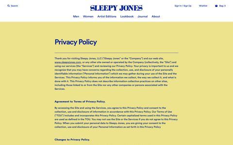 Screenshot of Privacy Page sleepyjones.com - Privacy Policy - Sleepy Jones - captured Dec. 22, 2015