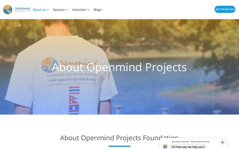Screenshot of About Page openmindprojects.org - About Us - captured July 23, 2019