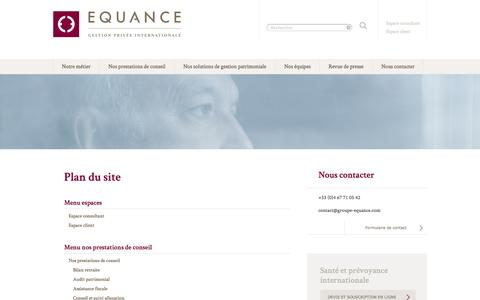 Screenshot of Site Map Page equance.com - Plan du site | Equance - captured Oct. 30, 2014