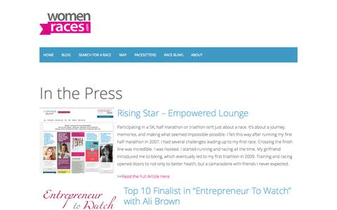 Screenshot of Press Page womenraces.com - Women RacesPress » Women Races - captured Oct. 9, 2014