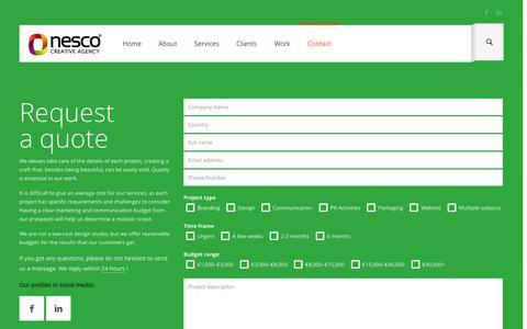 Screenshot of Contact Page nesco.ro - Contact - captured Nov. 4, 2014