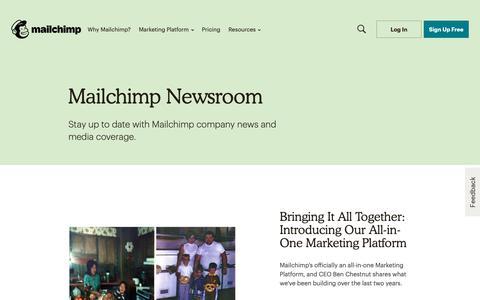 Screenshot of Press Page mailchimp.com - Press Resources - captured May 13, 2019