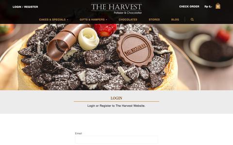 Screenshot of Login Page harvestcakes.com - Login   Harvest Cake - captured May 29, 2019