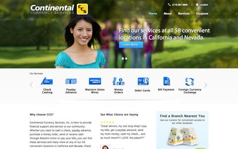 Screenshot of Home Page ccurr.com - Continental Currency Services  | Payday Loans, Check Cashing and More! - captured Oct. 3, 2014