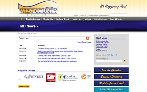 Screenshot of Press Page westcountychamber.org - , MD News -  | West Anne Arundel County Chamber of Commerce | Odenton, MD - captured Nov. 5, 2014