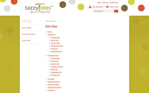 Screenshot of Site Map Page tazzytotes.com - Site Map - captured Oct. 26, 2014