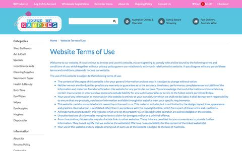 Screenshot of Terms Page houseofnappies.com.au - Website Terms of Use - captured May 23, 2017
