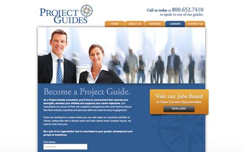 Screenshot of Jobs Page projectguides.net - Careers – Project Guides – Business Management Consultancy - captured Sept. 30, 2014