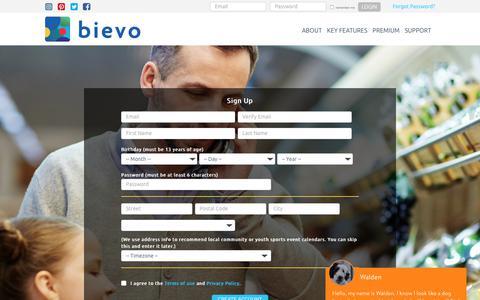 Screenshot of Signup Page mybievo.com - Sign Up - Bievo - captured Oct. 5, 2018