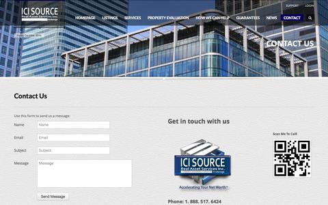 Screenshot of Contact Page icisource.com - Contact Us - ICI Source Real Asset Services Inc., Brokerage -  Providing a Complete Range of Commercial Real Estate Brokerage Services -  GTA Toronto Mississauga - captured Oct. 3, 2014