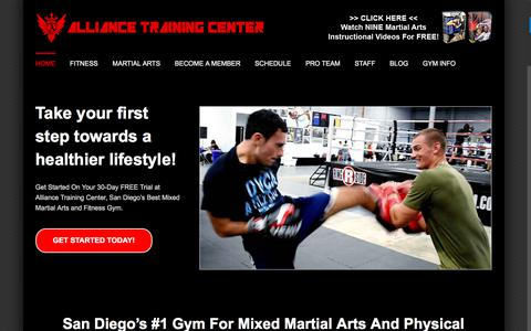 Screenshot of Home Page alliancegym.com - Alliance Training Center – Physical Fitness And Mixed Martial Arts - captured Oct. 8, 2017