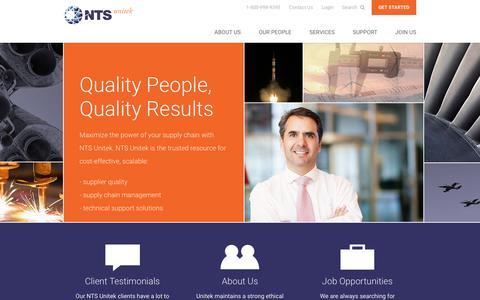 Screenshot of Home Page nts-unitek.com - Source Inspection & Quality Audits | NTS Unitek - captured Sept. 21, 2018