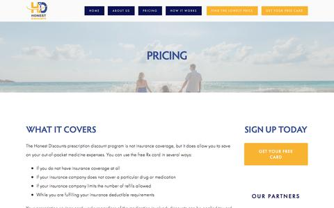 Screenshot of Pricing Page honestdiscounts.com - How Your Prescription Discount Card Works   Honest Discounts — Honest Discounts - captured July 21, 2018