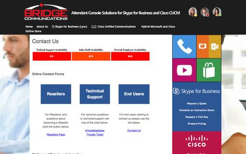 Screenshot of Contact Page bridgeoc.com - Bridge Operator Console - Attendant Console for Skype for Business (Lync) and Cisco Unified Communications - Contact Us - captured Nov. 23, 2016