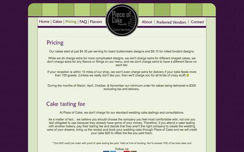 Screenshot of Pricing Page pieceofcakedesserts.com - Piece of Cake Mesa AZ Custom Cakes - captured Oct. 27, 2014