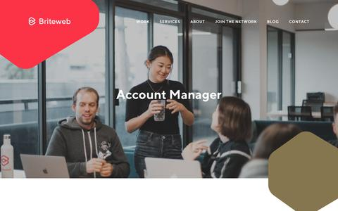 Screenshot of Jobs Page briteweb.com - Employment Opportunity: Account Manager - Briteweb - captured July 5, 2018