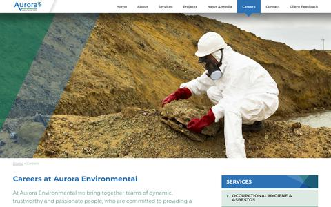 Screenshot of Jobs Page auroraenvironmental.com.au - Careers - Aurora Enviromental - captured July 31, 2018