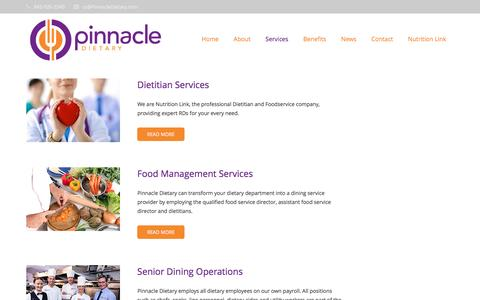 Screenshot of Services Page pinnacledietary.com - Our Services - Pinnacle Dietary - captured July 13, 2016
