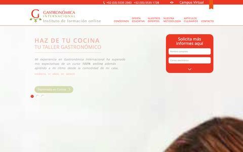 Screenshot of Home Page gastronomicainternacional.com - Gastronómica Internacional | Escuela de Gastronomía Online - captured Jan. 8, 2016