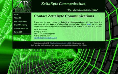Screenshot of Contact Page zettabytecommunications.com - ZettaByte Communications Web Design, Web Development, Digital Marketing, SEO, Social Network Marketing, Detroit Michigan - captured March 6, 2016