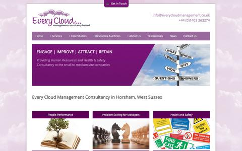 Screenshot of Home Page everycloudmanagement.co.uk - Every Cloud Management Consultancy Horsham, West Sussex - captured Sept. 1, 2017