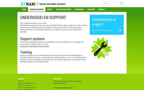 Screenshot of Support Page dynamit.nl - Training, support en onderhoud bij websites, webshops, online applicaties en mobile. - captured Oct. 5, 2014