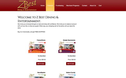 Screenshot of Products Page zbestdining.com - Z Best Dining & Entertainment - captured Sept. 24, 2016