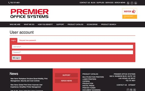 Screenshot of Login Page premierofficesystems.com - User account | Premier Office Systems - captured July 14, 2018