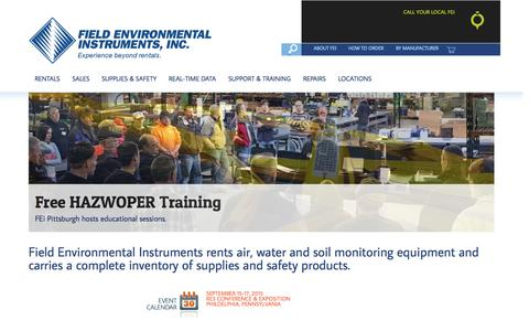 Screenshot of Home Page fieldenvironmental.com - Environmental Equipment | Air Quality | Water Monitoring - captured Sept. 8, 2015