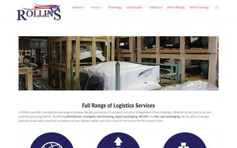 Screenshot of Services Page rollins3pl.com - Full Range of Logistics Services | Rollins 3PL - captured Nov. 5, 2014