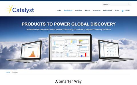 Screenshot of Products Page catalystsecure.com - E-Discovery Produts & Software - captured May 9, 2017