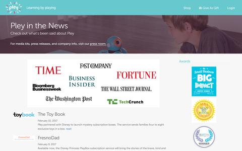 Screenshot of Press Page pley.com - In the News - Pley - Monthly Pley Club - mystery toy box with the brands you love: Disney Princess, National Geographic™ and other amazing brands - captured Aug. 25, 2017