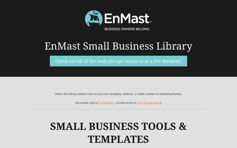 Screenshot of Signup Page enmast.com - Small Business Tools   EnMast Small Business Library - captured Dec. 9, 2015