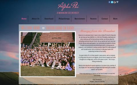 Screenshot of Home Page alphaphiwsu.com - Alpha Phi at Washington State University - captured Oct. 11, 2015