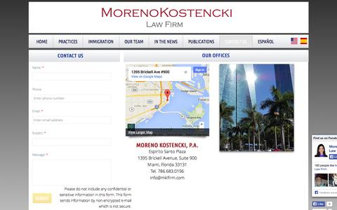 Screenshot of Privacy Page Contact Page mklfirm.com - Contact Us - captured Oct. 26, 2014