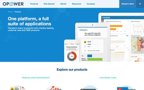 Screenshot of Products Page opower.com - Products - Energy Management Services | Opower :Opower - captured March 30, 2016