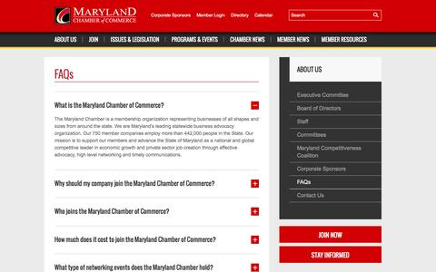 Screenshot of FAQ Page mdchamber.org - FAQs | Maryland Chamber of Commerce - captured Feb. 12, 2016