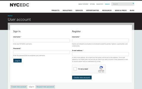 Screenshot of Login Page nycedc.com - User account | NYCEDC - captured Sept. 23, 2018
