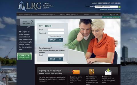 Screenshot of Login Page lrgboston.com - LRG Boston MyLogin - Emailed Real Estate Searches and more - captured Nov. 11, 2018