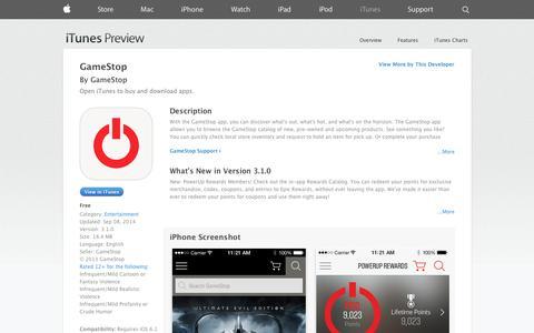 Screenshot of iOS App Page apple.com - GameStop on the App Store on iTunes - captured Oct. 22, 2014