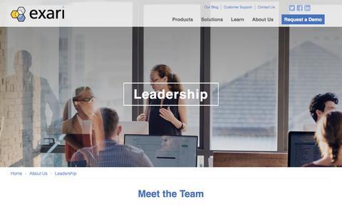 Screenshot of Team Page exari.com - Leadership - Exari - captured June 8, 2017